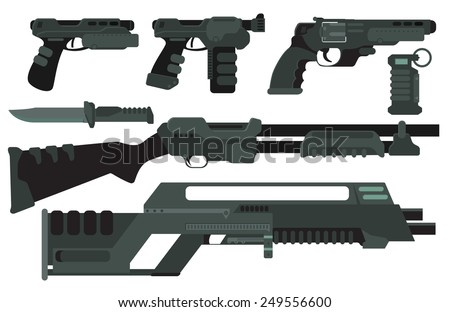 Futuristic Sci-Fi weapons - stock vector