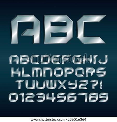 Futuristic Silver Chrome Alphabet and Numbers, Editable eps10 Vector - stock vector