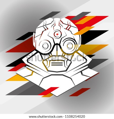 Futuristic Soldier. Vector illustration. Postapocalyptic man portrait. Video game hero, cyborg, robot