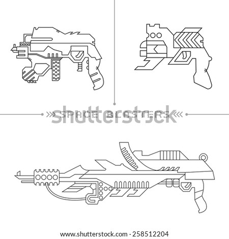 Futuristic space gun on white background. Icons set. - stock vector