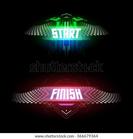 Futuristic start and finish flags - stock vector