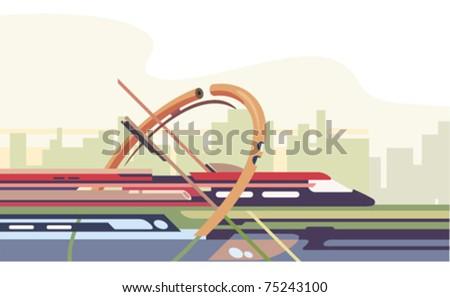 futuristic train riding around the city - stock vector