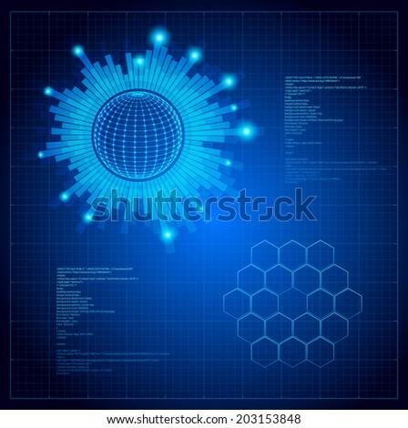 Futuristic user interface. Vector HUD illustration. - stock vector