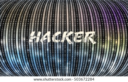 Futuristic vector backdrop and binary code and the words hacker
