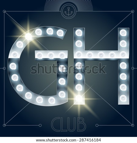 Futuristic vector lamp alphabet on glossy mirror background. Letters G H - stock vector