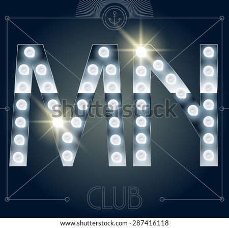 Futuristic vector lamp alphabet on glossy mirror background. Letters M N - stock vector
