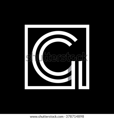 G capital letter enclosed in a square. . Overlapping with shadows monogram, logo, emblem. Trendy design.  - stock vector