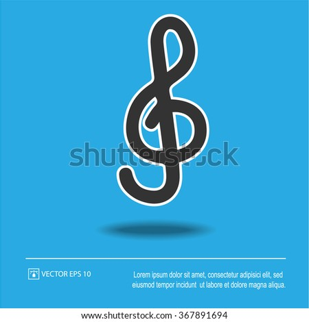 G-clef icon on blue background. Treble clef symbol. Isolated black and white vector illustration EPS 10. - stock vector