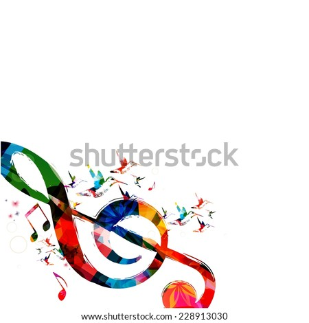 G-clef sign with hummingbirds - stock vector
