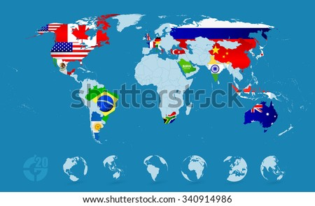 G20 country flags on detailed world stock vector 340914986 g20 country flags on detailed world map gumiabroncs Image collections