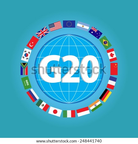 G20 country flags or flags of the world (economic G20 country flag) illustration - stock vector