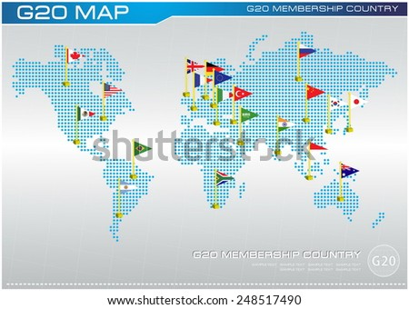 G20 country flags with dotted world map or flags of the world (economic G20 country flag) illustration - stock vector