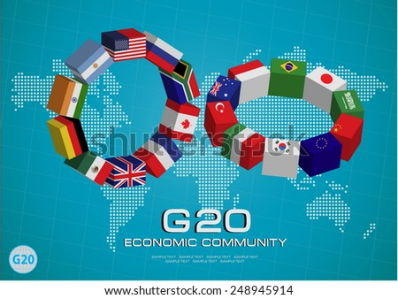 G20 country in 3D flags style with dotted world map or flags of the world (economic G20 country flag) illustration - stock vector
