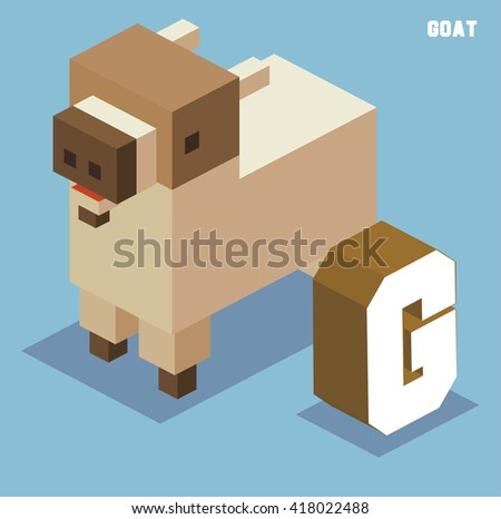 G for goat. Animal Alphabet collection. vector illustration