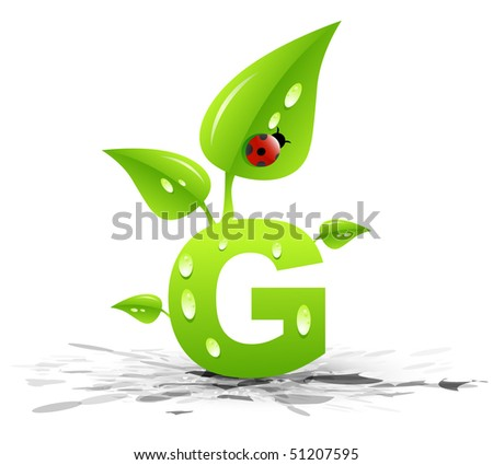 G letter. Green concept