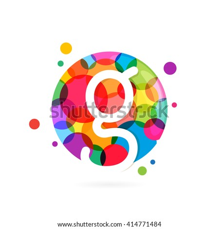 G letter logo in circle with rainbow dots. Font style, vector design template elements for your application or corporate identity. - stock vector