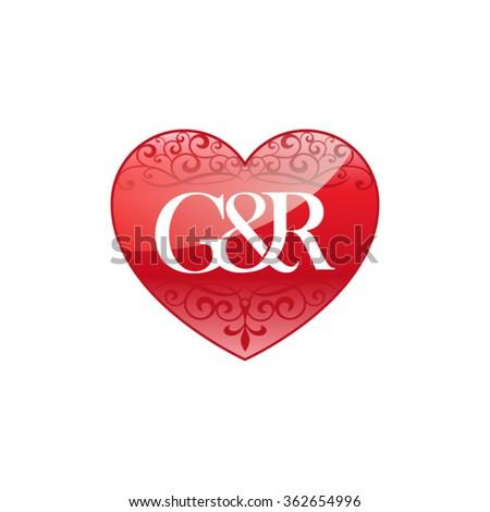 gr initial letter couple logo ornament stock vector 362654996