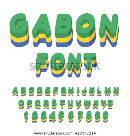 Gabon font. Gabonese flag on letters. National Patriotic alphabet. 3d letter. State color symbolism of state in Central Africa - stock vector
