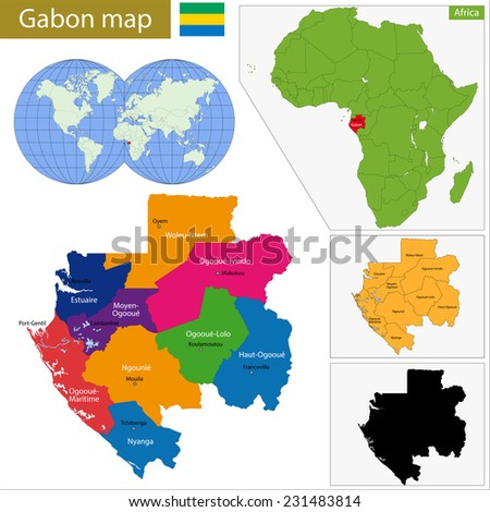 Gabon map with high detail and accuracy and it is divided into provinces which are colored with different bright colors - stock vector