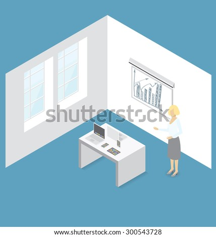 Gadget concept. Vector 3d flat isometric woman, cell phone, laptop and touch pad on presentation - stock vector