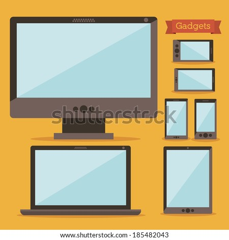 Gadget design over yellow background, vector illustration