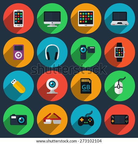 Gadget flat icons. Joystick and memory card, device technology, camera and smartphone, vector illustration - stock vector