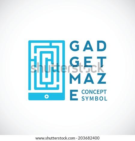 Gadget Maze Abstract Vector Concept Icon or Logo Template - stock vector