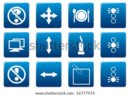 Gadget square icons set. Blue - white palette. Vector illustration.