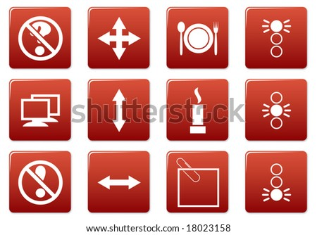 Gadget square icons set. Red - white palette. Vector illustration.