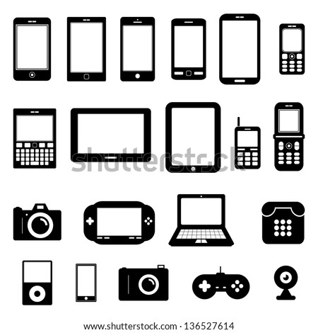 Gadget Vector Black and White - stock vector