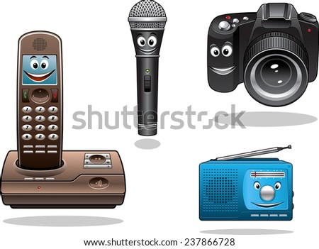 Gadgets and devices in cartoon style. Camera, radio, microphone and hand free phone - stock vector