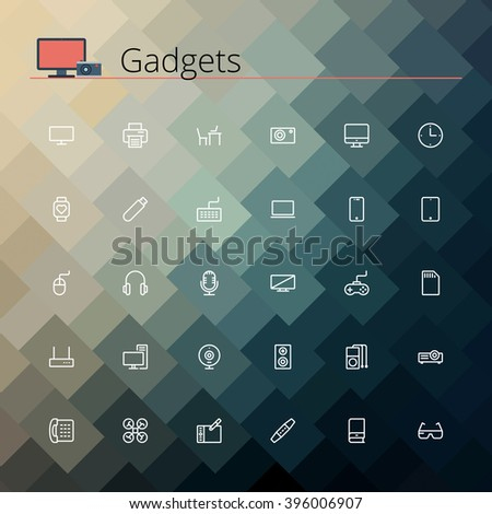 Gadgets and devices line Icons set. Vector illustration. Geometric background.