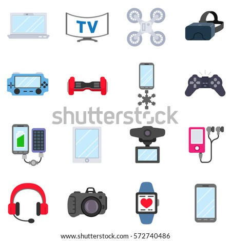 Gadgets Technology Icons Set Modern Electronic Stock Vector ...