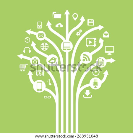 Gadgets and technology symbols on tree with arrow. Conceptual illustration. - stock vector