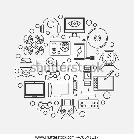 Gadgets round concept illustration. Vector devices and gadgets symbol made with thin line icons