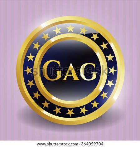 Gag gold shiny badge - stock vector
