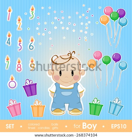 Gala set for boy. Set for birthday, candles, gifts, tinsel, colo - stock vector