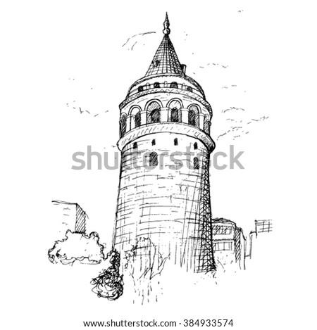 Galata Tower sketch - stock vector