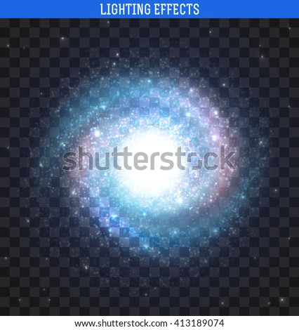 Galaxy effect spiral  realistic. Clusters of stars planets.  Milky Way background element  - stock vector