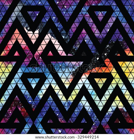 Galaxy seamless pattern with triangles and geometric shapes. Vector trendy illustration. - stock vector