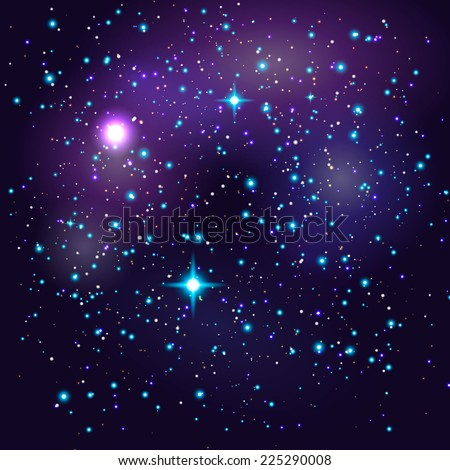 Galaxy vector background with shining stars - stock vector