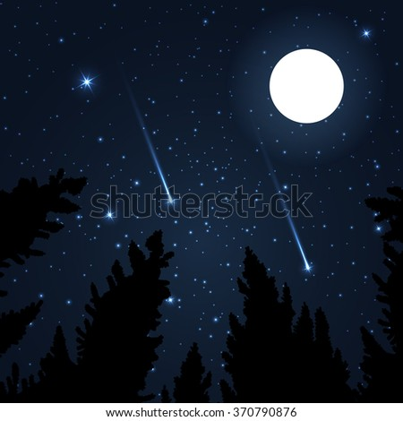 Galaxy Framed Pine Trees Night Sky Stock Vector 370790876 - Shutterstock