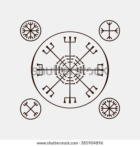 Galdrastafir Helm Awe Magic Runic Symbols Stock Vector 385904896