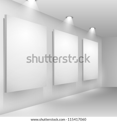 Gallery interior empty frames on wall with reflectors - stock vector