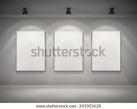 Gallery interior with blank placard set in spotlights background vector illustration - stock vector