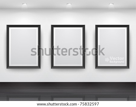 Gallery Interior with empty black frameÑ? on wall - stock vector