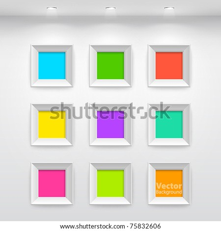 Gallery Interior with empty colorful frames on wall - stock vector
