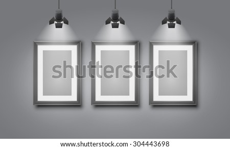 Gallery room gray wall interior with blank frames illuminated with spotlights. Realistic 3d vector illustration - stock vector