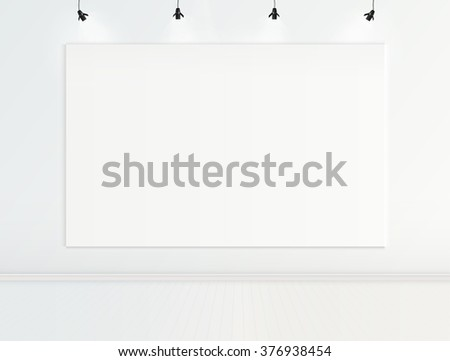 Gallery room interior with picture frame with spotlights vector design - stock vector