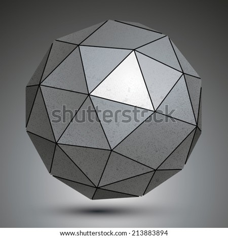 Galvanized facet 3d sphere, metal abstract object. - stock vector